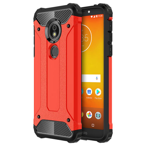 Military Defender Shockproof Case - Motorola Moto E5 / G6 Play - Red